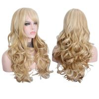 China Long Blonde Wigs with Bangs Heat Resistant Synthetic Wigs for Women on sale