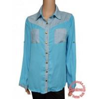 denim and chiffon femaie blouse ,dual for short sleeve and full sleeve