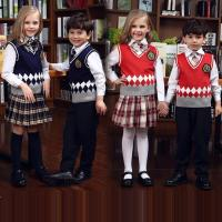 Fashion primary school knitted sleeveless vest sweater uniform wholesale
