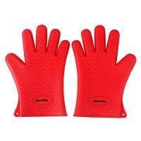 Buy cheap HornTide Heat Resistant Silicone Gloves Five-Fingered Grip (1 Pair) Red product
