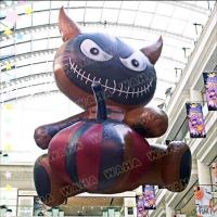 Large Inflatable Black Evil Cat With Pumpkin For Halloween Decoration