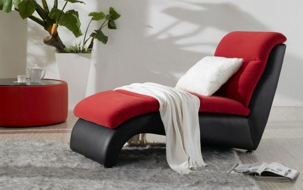 Red Fabric And Black Leather Lounge Chair 41128707