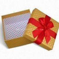 Buy cheap paper gift box with satin ribbon handle product