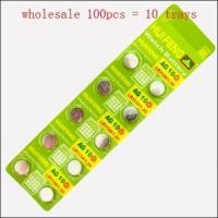 Buy cheap Wholesale 100 pcs x AG10 LR1130 189 L1131 SR1130 LR54 Button Coin Cell Battery 1.5V product