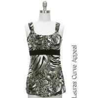 China Womens Size SMALL 6/8 Gray Black White Tiger Tank Top Blouse Jon Anna New York on sale