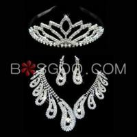 Buy cheap Weddings & Events 3 Pieces Shiny Clear Austrian Crystal Wedding Bridal Jewelry Sets product