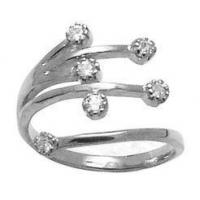 China Solid 10K White Gold Multi CZ Toe Ring Adjustable on sale