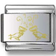 Buy cheap Champagne Toast Gold Laser Charm from Wholesalers