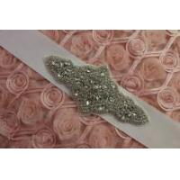 Bridal Motif Silver Crystal Clear Rhinestone Applique