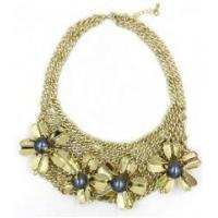 Buy cheap New style women female fashion newest design flower gold alloy necklace product