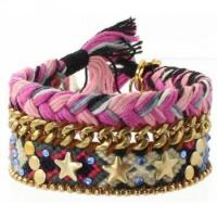 Buy cheap Embellished Bohemian Hippie Friendship Cuff in pink, black and white product