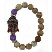 Buy cheap Picture Jasper Buddha Bracelet with Amethyst and CZ Beads product