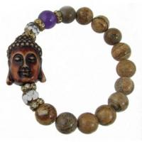 Buy cheap Picture Jasper Buddha Bracelet with Czech Glass and CZ beads product