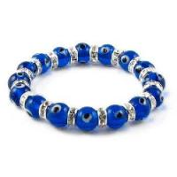 Buy cheap CZ Evil Eye Bracelet, 8 Mm Translucent Navy Blue Beads product