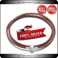 Buy cheap Colored Double Wrap Leather Bracelet,925 Sterling Silver Braided Rope Bracelet product