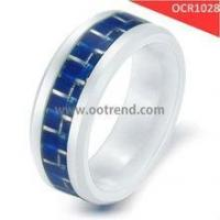 Buy cheap white ceramic rings inlay blue carbon fiber product