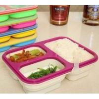 Buy cheap Food grade Microwave Safe 3 Compartment Folding Silicone Lunch Box product