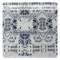 Buy cheap White And Black Big Geometric Cotton Polyester Lace Fabric , 1.45 - 1.5m product