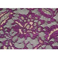 Buy cheap Fashion Metallic Purple Stretch Lace Fabric Watersoluble OEM / ODM CY-LW0219 product