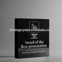 Buy cheap crystal trophy&award black colour crystal block in stock product