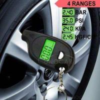 Buy cheap keychain LCD tire pressure gauge with led light Portable Mini tyre guage product