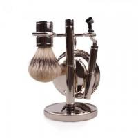 Hot sale synthetic hair shaving brush set with metal handle