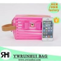 Buy cheap High Quality beautiful PVC cosmetic bag stripped Transparent traveling bag product