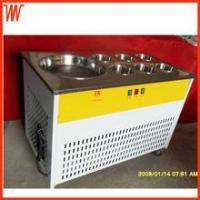 China thailand fry ice cream machine single pan and 6 colling buckets on sale