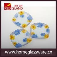 Buy cheap glass plate dinner set with nice designs, square glass plate set product