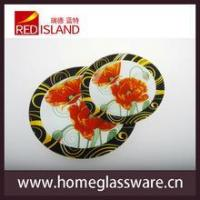 Buy cheap decal round glass tray plate with flower design product