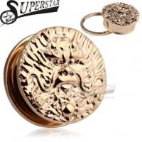 Buy cheap Chinese Zodiac Dragon Logo Casting Rose Gold Stainless Steel Ear Plug product
