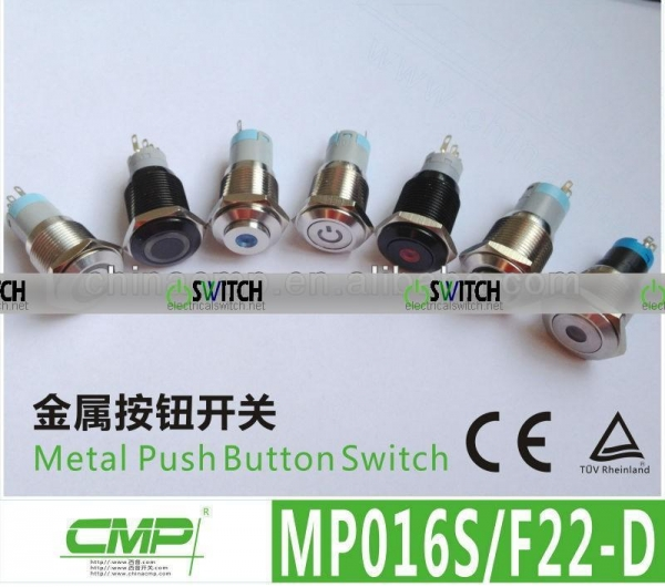 Quality MP16 Series Pushbutton LED Switch Electric/2NO 2NC Illuminated Switch (CE Approved) for sale