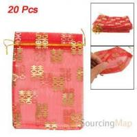 Buy cheap 20 Pcs Gold Tone Double Happiness Printed Red Organza Gift Bags Gifts Packaging & Display product