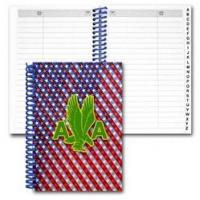 Lenticular address book with patriotic stars and stripes, color changing