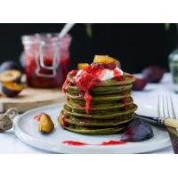 Buy cheap Vegan Matcha Pancakes + Ginger Plum Compote product