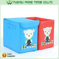 Cute cartoon foldable Non Woven fabric toy kids storage box