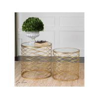 China Zoa Round Accent Table with Glass Top - Set of 2 on sale