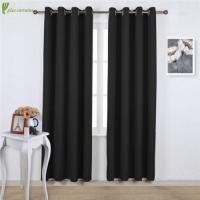 China Jet Black Grommet Thermal Insulated Blackout Curtains on sale
