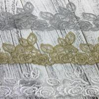 Buy cheap Golden Knit 9cm Width gold and silver wire bar code veil Polyester Lace z014# from wholesalers